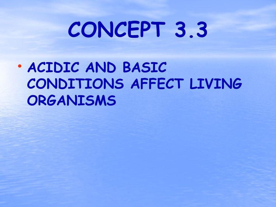 CONCEPT 3.3 ACIDIC AND BASIC CONDITIONS AFFECT LIVING ORGANISMS