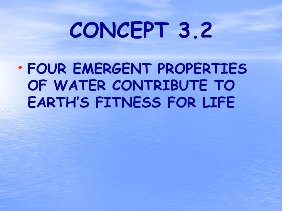 CONCEPT 3.2 FOUR EMERGENT PROPERTIES OF WATER CONTRIBUTE TO EARTHS FITNESS FOR LIFE