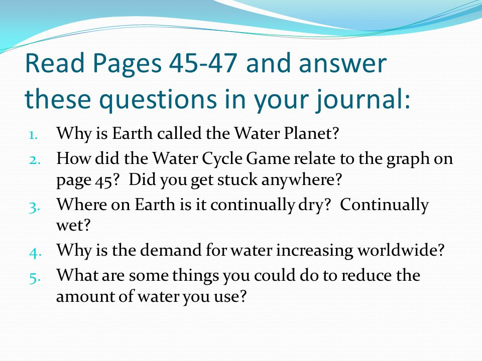 Read Pages 45-47 and answer these questions in your journal: 1.