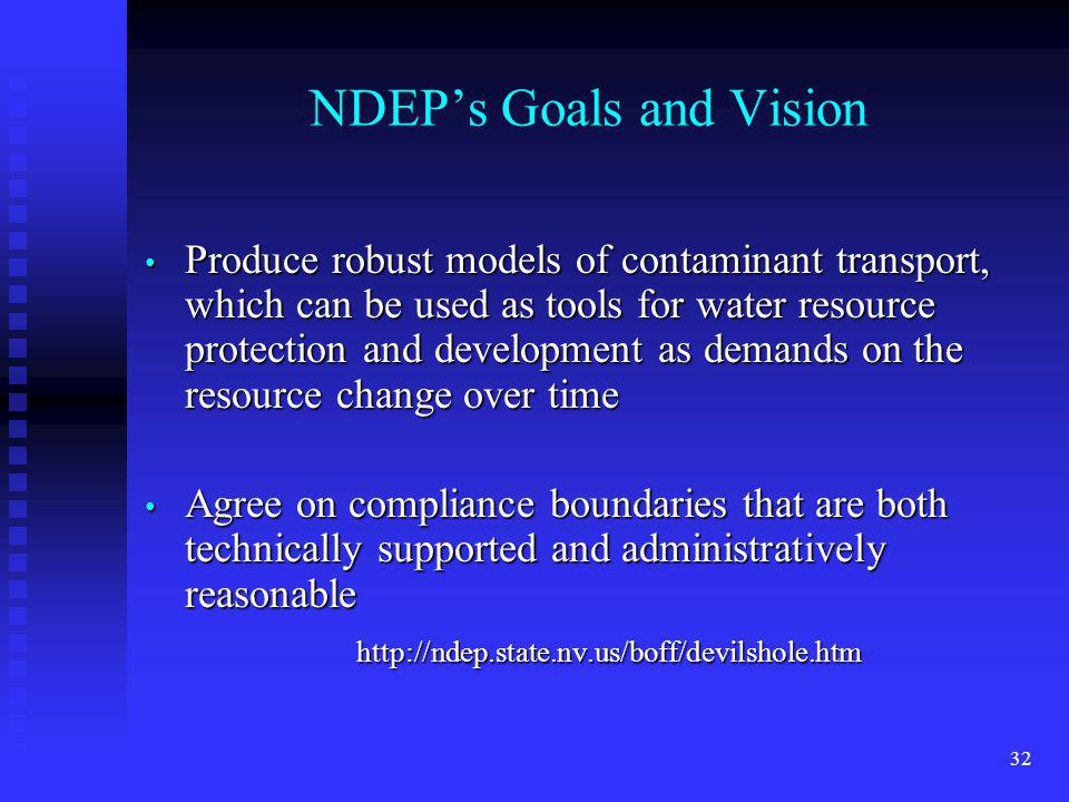 32 NDEPs Goals and Vision Produce robust models of contaminant transport, which can be used as tools for water resource protection and development as demands on the resource change over time Produce robust models of contaminant transport, which can be used as tools for water resource protection and development as demands on the resource change over time Agree on compliance boundaries that are both technically supported and administratively reasonable Agree on compliance boundaries that are both technically supported and administratively reasonable http://ndep.state.nv.us/boff/devilshole.htm http://ndep.state.nv.us/boff/devilshole.htm