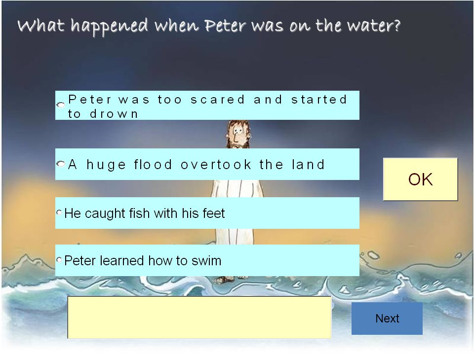 What happened when Peter was on the water