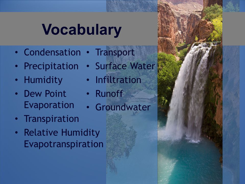Vocabulary Condensation Precipitation Humidity Dew Point Evaporation Transpiration Relative Humidity Evapotranspiration Transport Surface Water Infiltration Runoff Groundwater