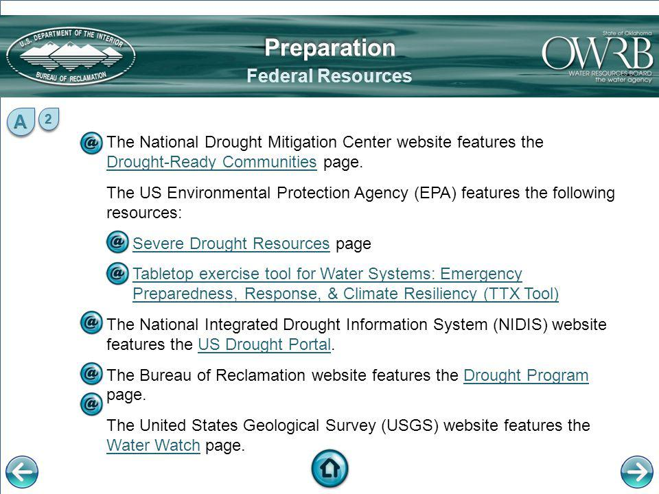 The National Drought Mitigation Center website features the Drought-Ready Communities page. Drought-Ready Communities The US Environmental Protection