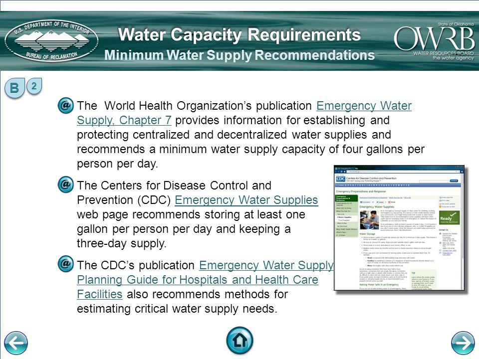 The World Health Organizations publication Emergency Water Supply, Chapter 7 provides information for establishing and protecting centralized and dece