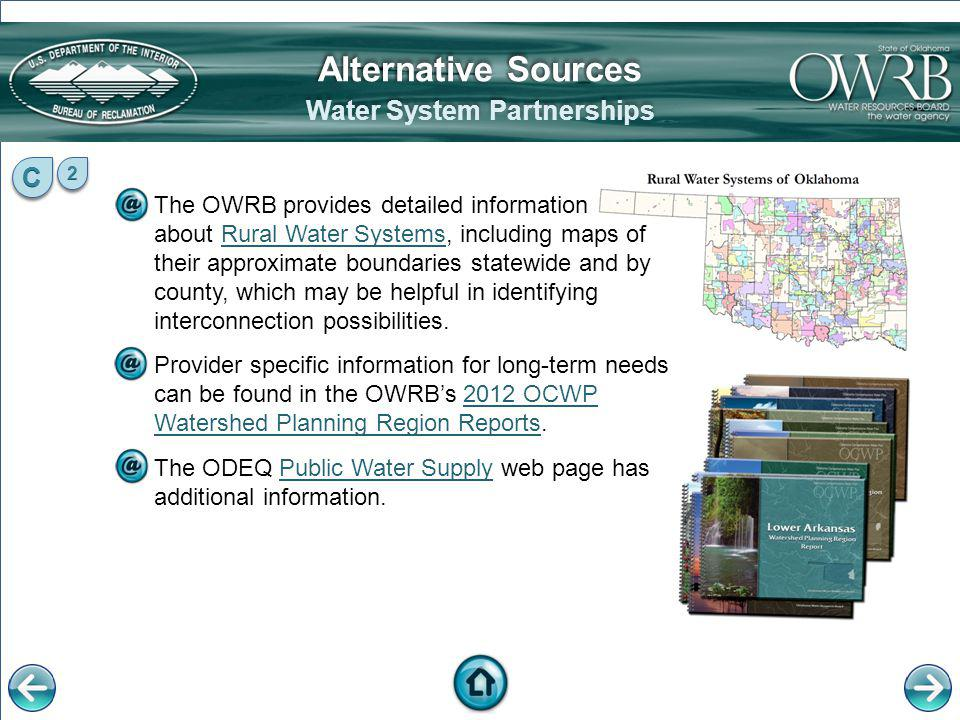 The OWRB provides detailed information about Rural Water Systems, including maps of their approximate boundaries statewide and by county, which may be