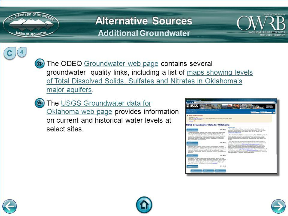 The ODEQ Groundwater web page contains several groundwater quality links, including a list of maps showing levels of Total Dissolved Solids, Sulfates