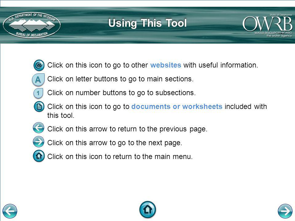 Using This ToolUsing This Tool Click on this icon to go to other websites with useful information. Click on letter buttons to go to main sections. Cli