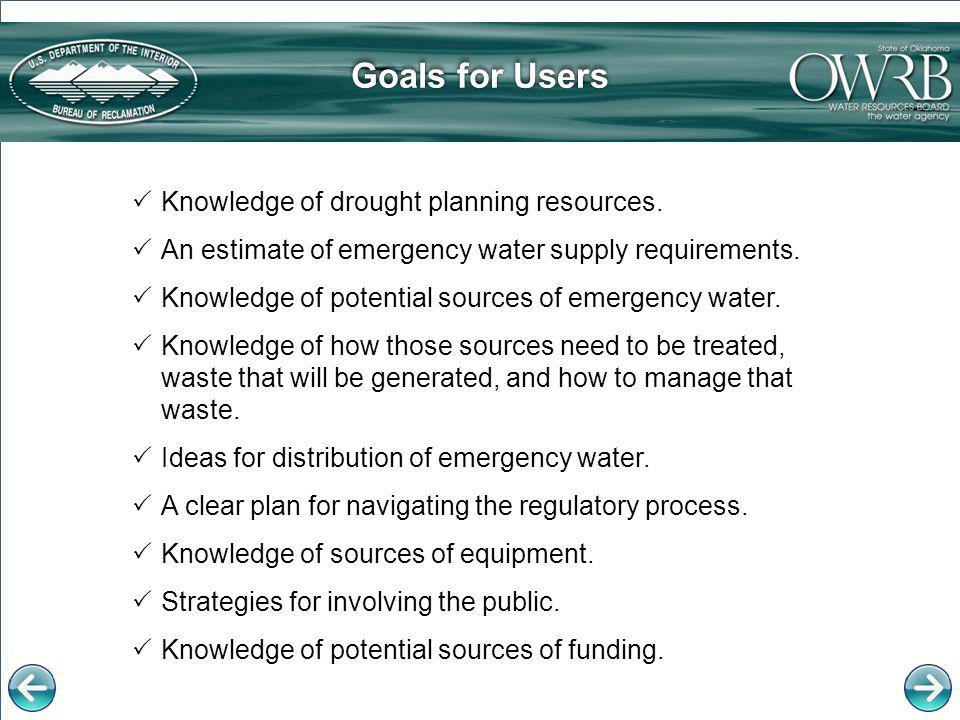 The OWRB website provides the following groundwater resources:OWRB website Locating Available WaterLocating Available Water web page Water Quality MonitoringWater Quality Monitoring web page Interactive mapInteractive map linked directly to groundwater data, including well logs and water level monitors OCWP web pageOCWP web page, featuring the Public Water Supply Planning Guide with information on locating additional sources of water Public Water Supply Planning Guide Additional Groundwater Alternative SourcesAlternative Sources
