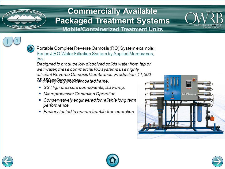 Portable Complete Reverse Osmosis (RO) System example: Series J RO Water Filtration System by Applied Membranes, Inc. Designed to produce low dissolve