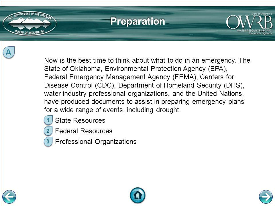 State Resources The Oklahoma Drought Management PlanThe Oklahoma Drought Management Plan outlines membership and responsibilities as well as the sequence of state drought response actions.