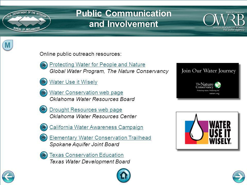 Online public outreach resources: Protecting Water for People and Nature Protecting Water for People and Nature Global Water Program, The Nature Conse