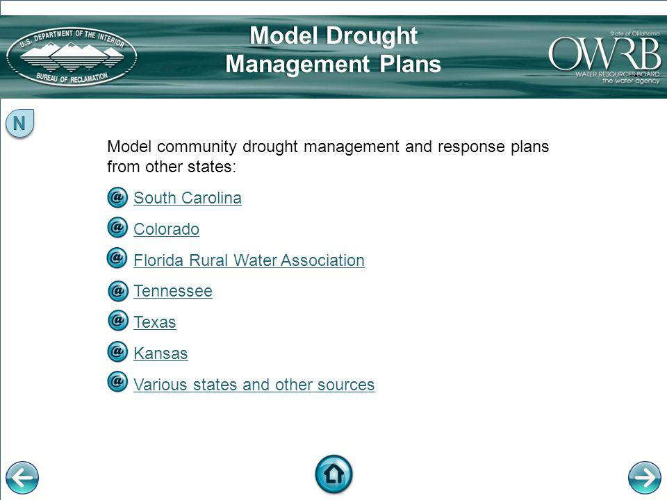 Model community drought management and response plans from other states: South Carolina Colorado Florida Rural Water Association Tennessee Texas Kansa