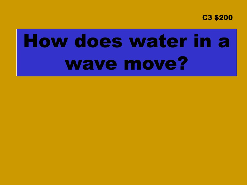 C3 $200 How does water in a wave move