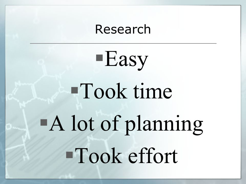 Research Easy Took time A lot of planning Took effort
