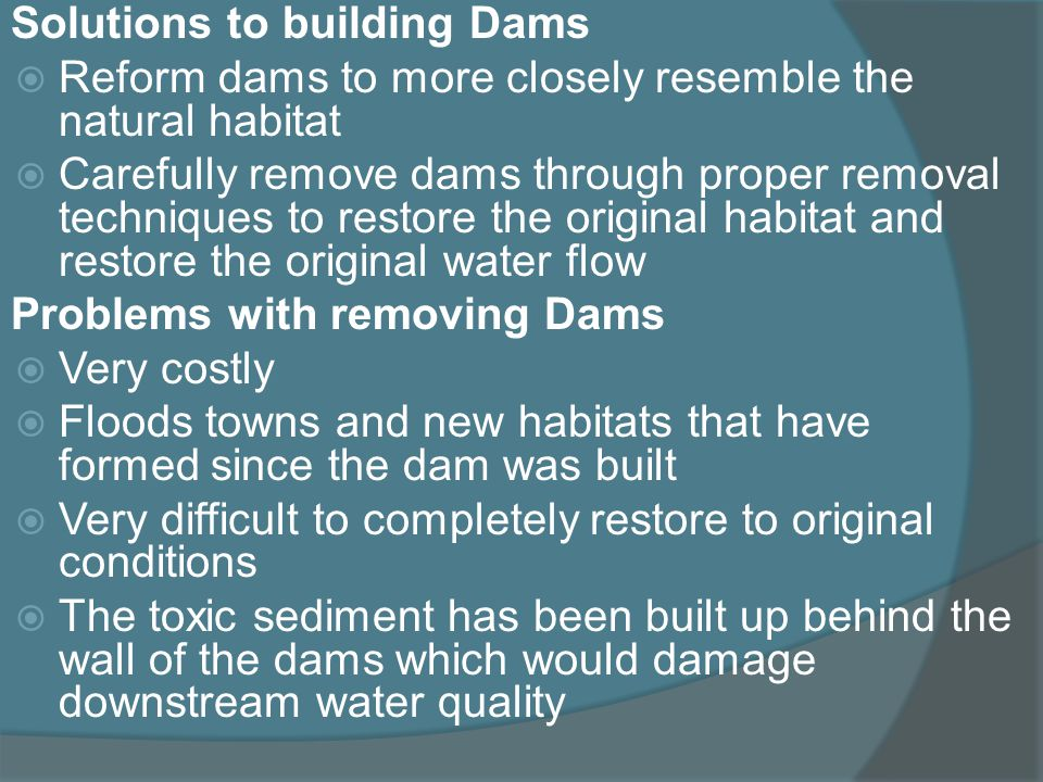 Solutions to building Dams Reform dams to more closely resemble the natural habitat Carefully remove dams through proper removal techniques to restore