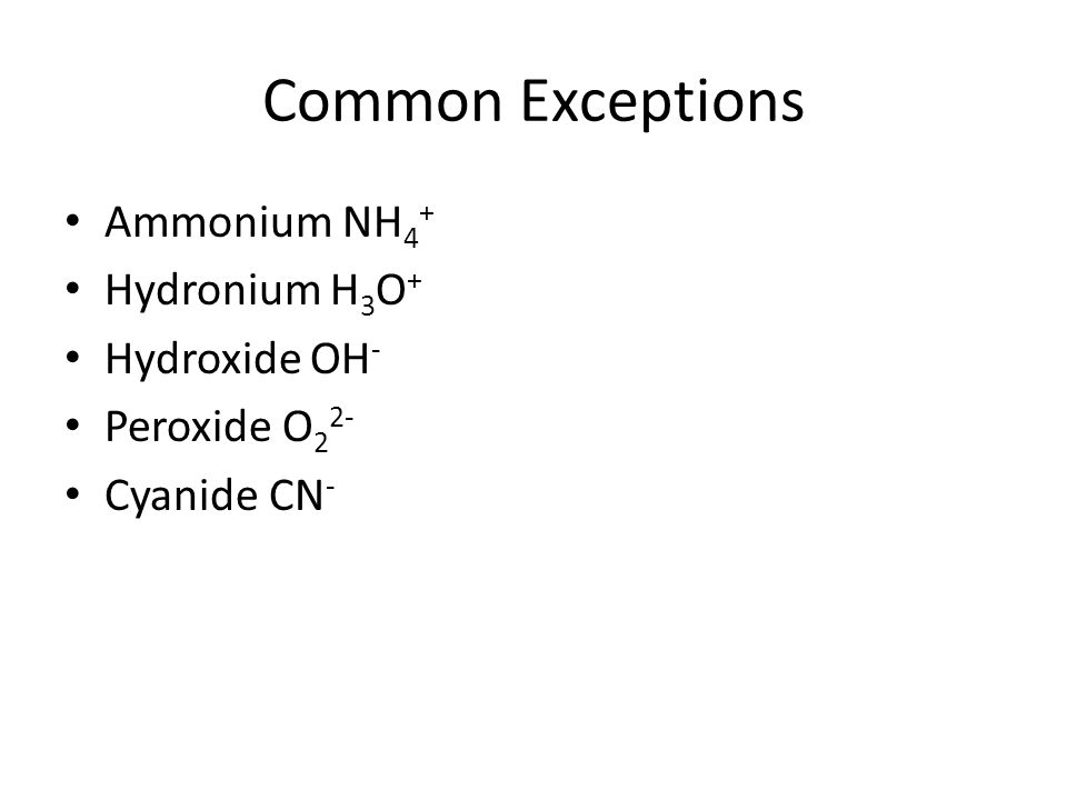 Common Exceptions Ammonium NH 4 + Hydronium H 3 O + Hydroxide OH - Peroxide O 2 2- Cyanide CN -