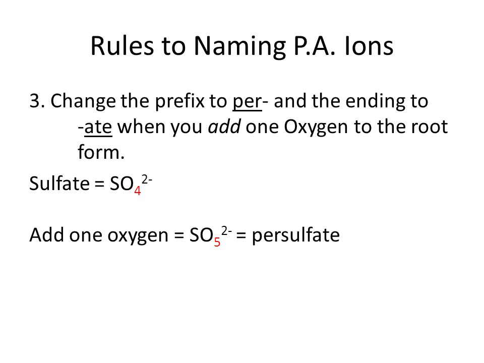 Rules to Naming P.A.Ions 3.