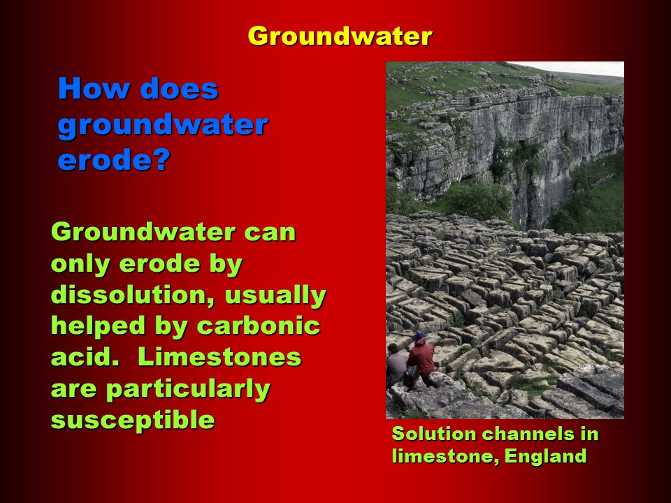 Groundwater How does groundwater erode.