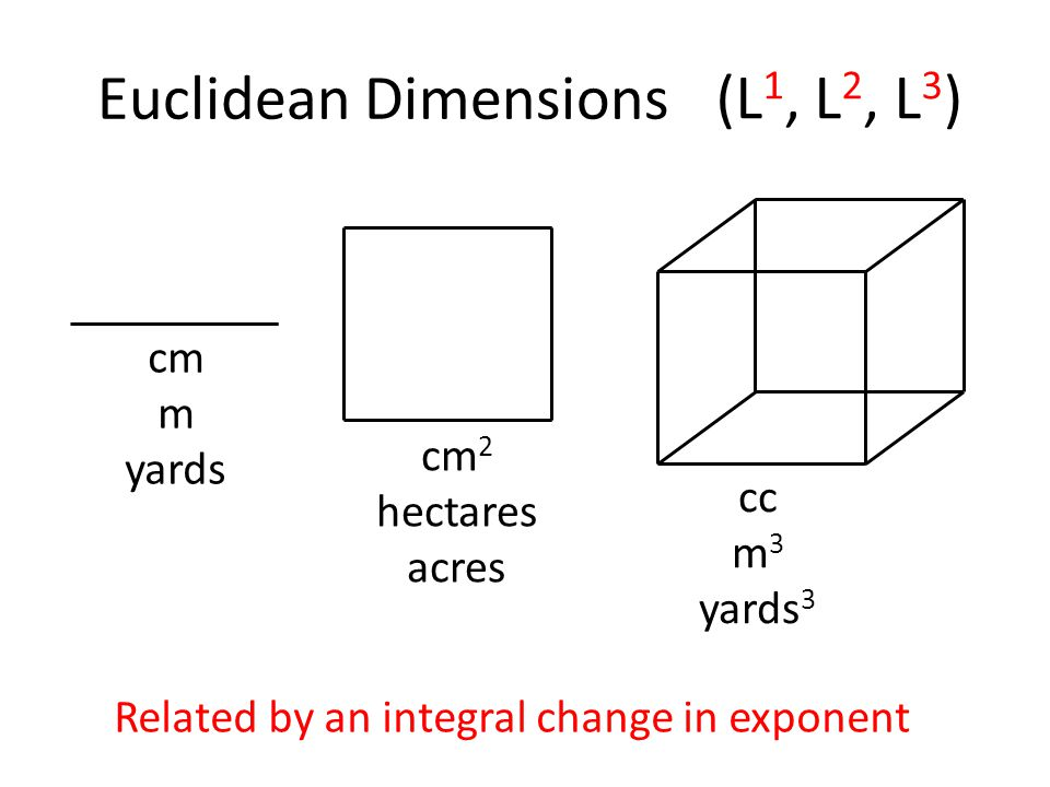 Euclidean Dimensions(L, L 2, L 3 ) cm m yards cm 2 hectares acres cc m 3 yards 3 Related by an integral change in exponent (L 1, L 2, L 3 )