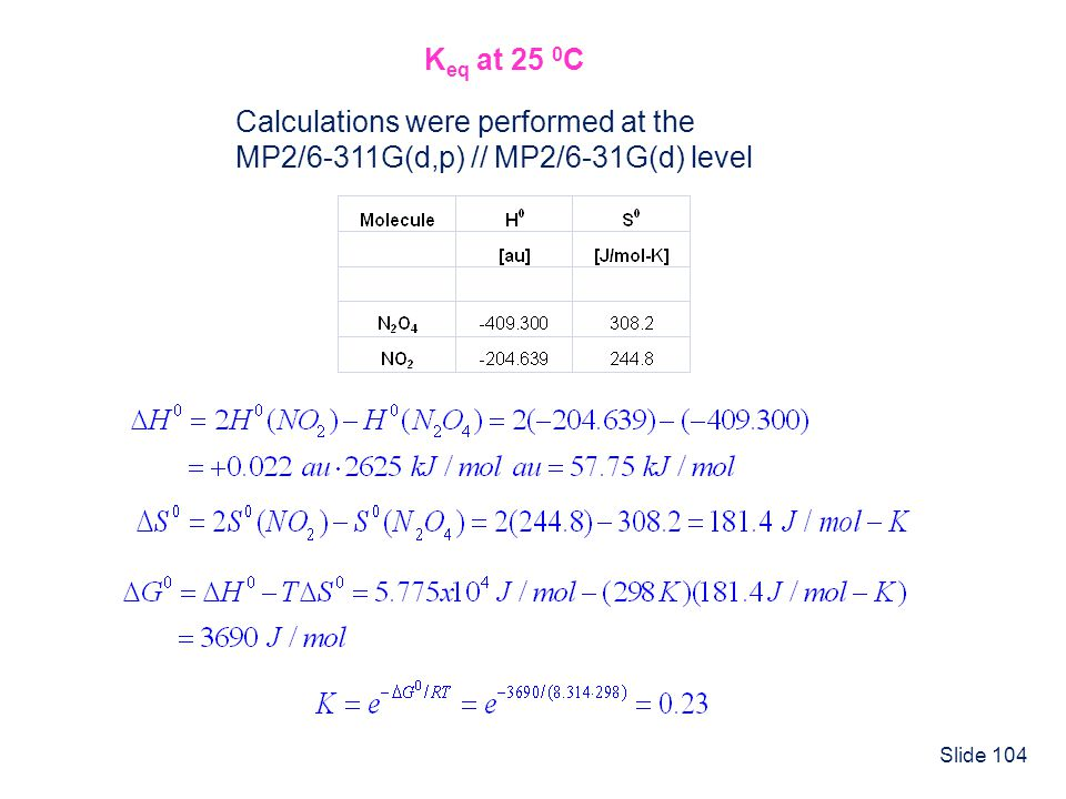 Slide 104 K eq at 25 0 C Calculations were performed at the MP2/6-311G(d,p) // MP2/6-31G(d) level