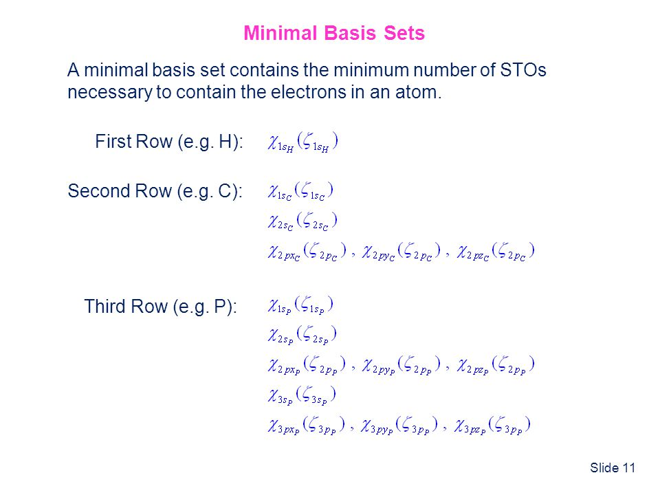 Slide 11 Minimal Basis Sets A minimal basis set contains the minimum number of STOs necessary to contain the electrons in an atom. First Row (e.g. H):