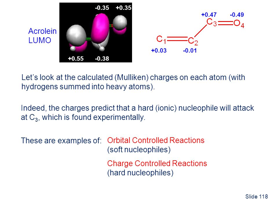 Slide 118 Lets look at the calculated (Mulliken) charges on each atom (with hydrogens summed into heavy atoms). +0.03-0.01 +0.47-0.49 Acrolein LUMO +0