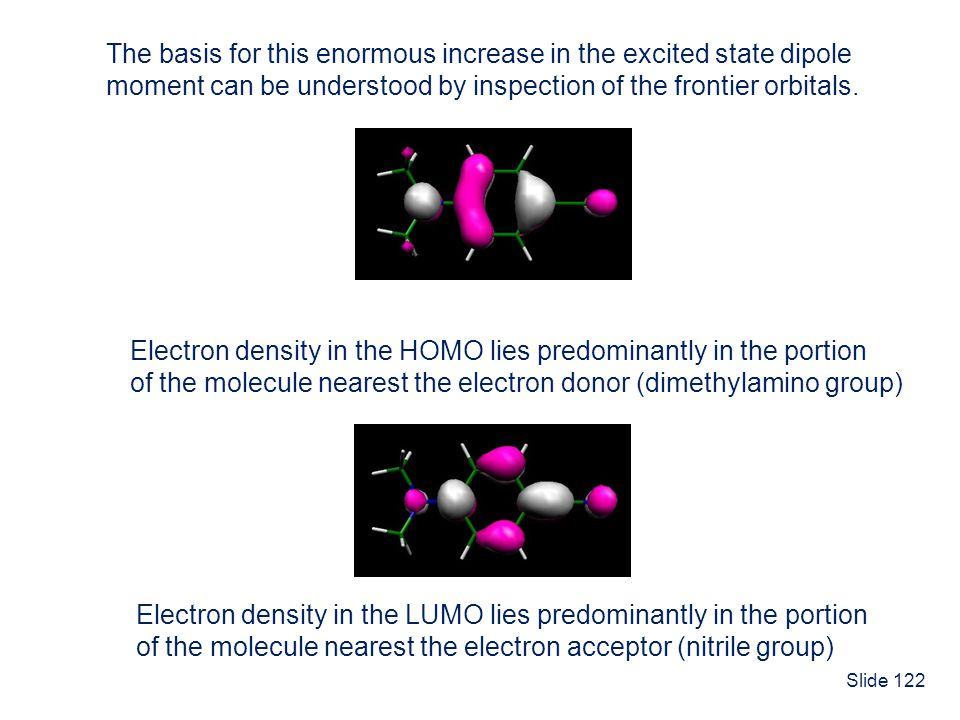 Slide 122 The basis for this enormous increase in the excited state dipole moment can be understood by inspection of the frontier orbitals. Electron d