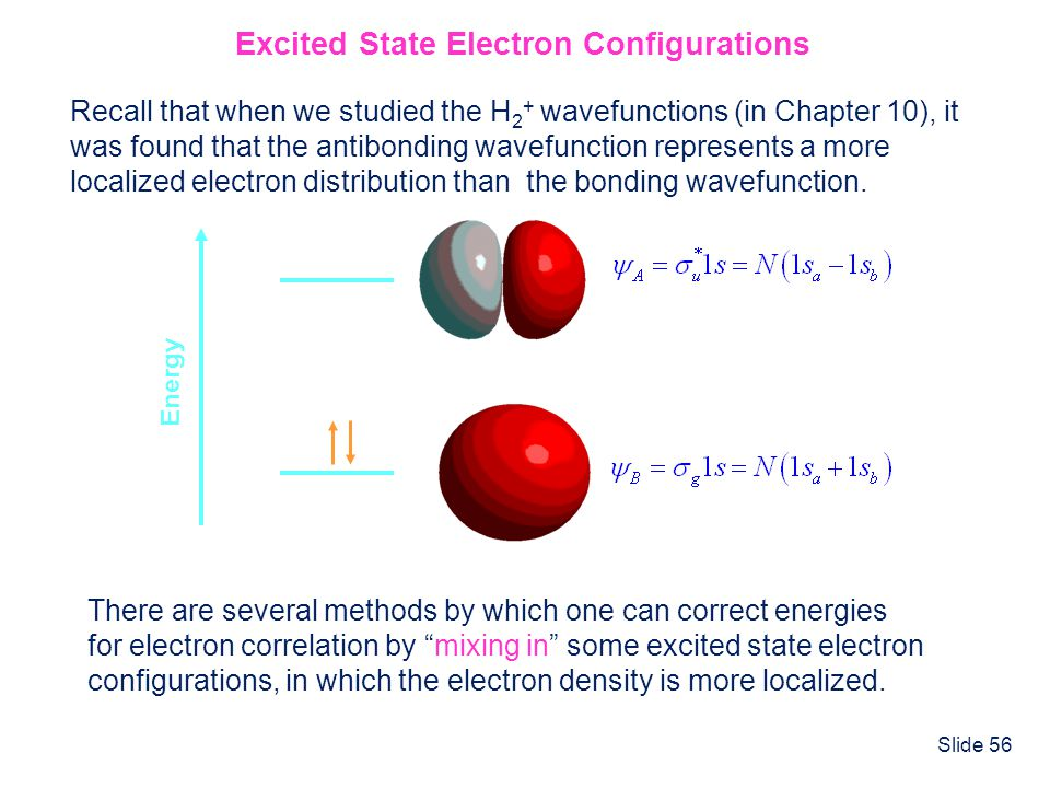 Slide 56 Excited State Electron Configurations Recall that when we studied the H 2 + wavefunctions (in Chapter 10), it was found that the antibonding
