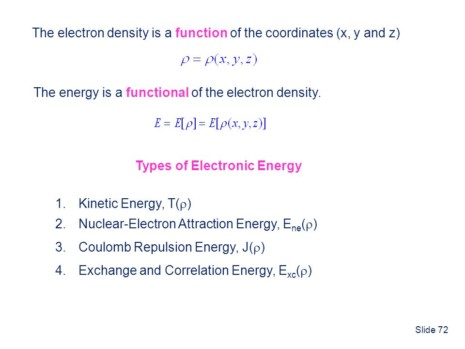 Slide 72 The electron density is a function of the coordinates (x, y and z) The energy is a functional of the electron density. Types of Electronic En