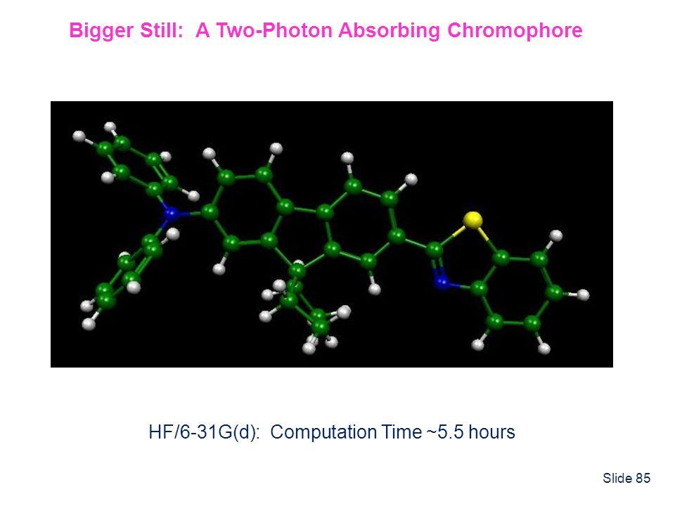 Slide 85 Bigger Still: A Two-Photon Absorbing Chromophore HF/6-31G(d): Computation Time ~5.5 hours