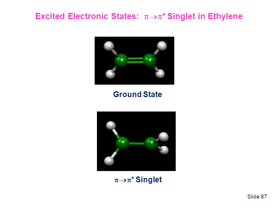 Slide 87 Excited Electronic States: * Singlet in Ethylene Ground State * Singlet