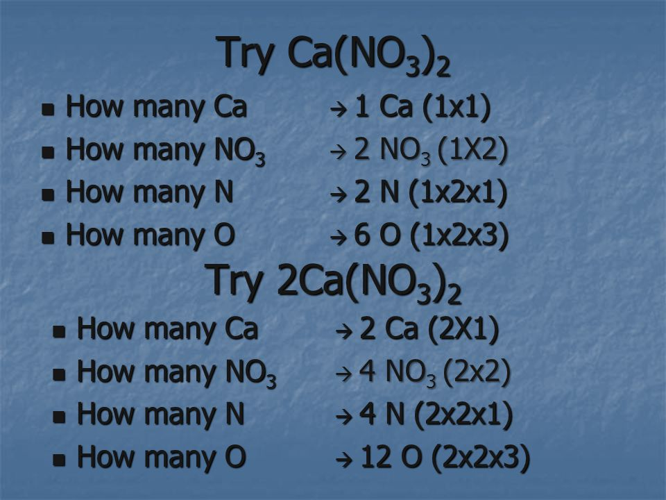Try Ca(NO 3 ) 2 How many Ca How many Ca How many NO 3 How many NO 3 How many N How many N How many O How many O 1 Ca (1x1) 1 Ca (1x1) 2 NO 3 (1X2) 2 NO 3 (1X2) 2 N (1x2x1) 2 N (1x2x1) 6 O (1x2x3) 6 O (1x2x3) Try 2Ca(NO 3 ) 2 How many Ca How many Ca How many NO 3 How many NO 3 How many N How many N How many O How many O 2 Ca (2X1) 2 Ca (2X1) 4 NO 3 (2x2) 4 NO 3 (2x2) 4 N (2x2x1) 4 N (2x2x1) 12 O (2x2x3) 12 O (2x2x3)
