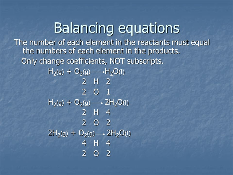 Balancing equations The number of each element in the reactants must equal the numbers of each element in the products.