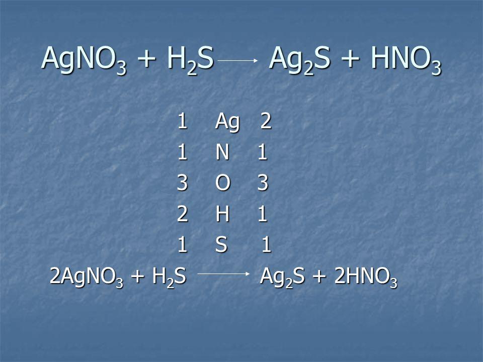 AgNO 3 + H 2 S Ag 2 S + HNO 3 1 Ag 2 1 Ag 2 1 N 1 1 N 1 3 O 3 3 O 3 2 H 1 2 H 1 1 S 1 1 S 1 2AgNO 3 + H 2 S Ag 2 S + 2HNO 3 2AgNO 3 + H 2 S Ag 2 S + 2HNO 3