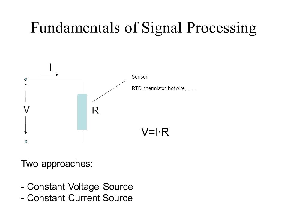 Fundamentals of Signal Processing R I V V=I·R Two approaches: - Constant Voltage Source - Constant Current Source Sensor: RTD, thermistor, hot wire, …..