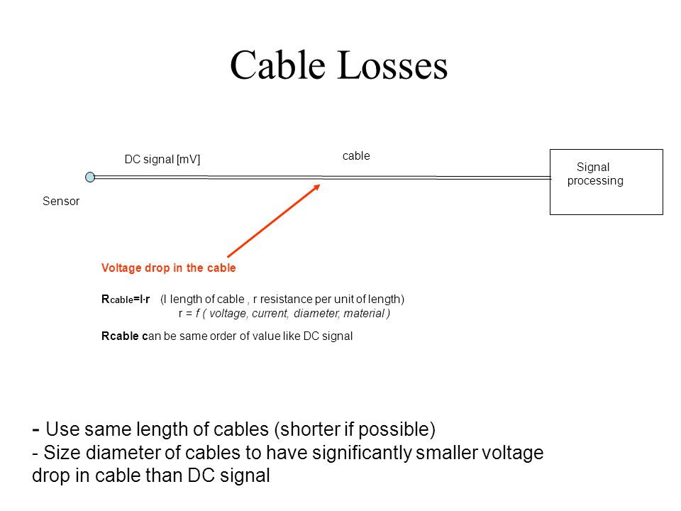 Cable Losses Sensor Signal processing cable DC signal [mV] Voltage drop in the cable R cable =l·r (l length of cable, r resistance per unit of length) r = f ( voltage, current, diameter, material ) Rcable can be same order of value like DC signal - Use same length of cables (shorter if possible) - Size diameter of cables to have significantly smaller voltage drop in cable than DC signal