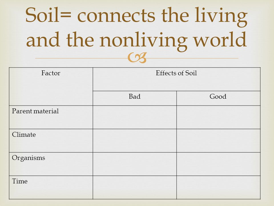 FactorEffects of Soil BadGood Parent material Climate Organisms Time Soil= connects the living and the nonliving world