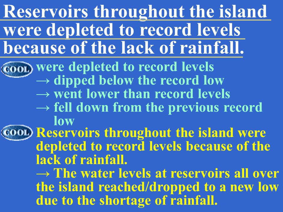Reservoirs throughout the island were depleted to record levels because of the lack of rainfall.