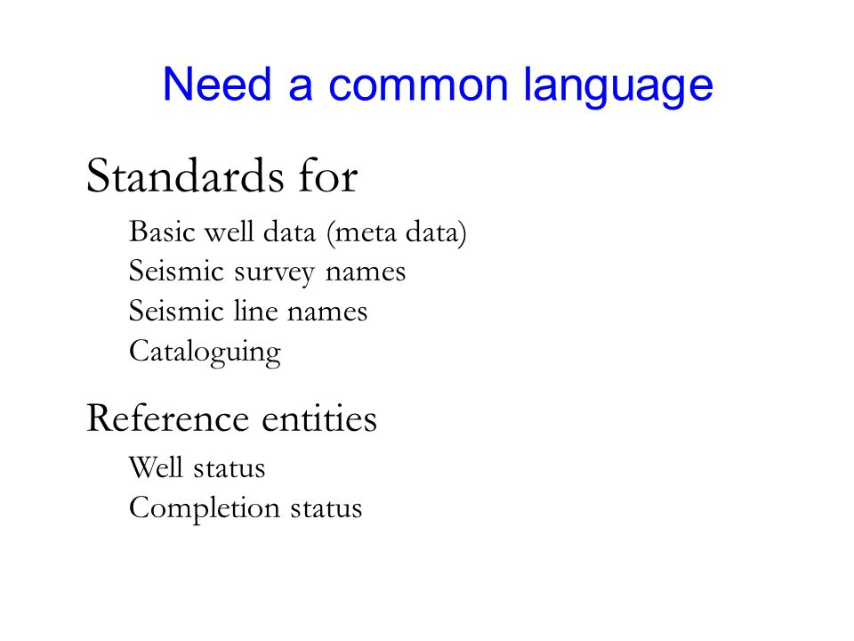 Need a common language Standards for Basic well data (meta data) Seismic survey names Seismic line names Cataloguing Reference entities Well status Co