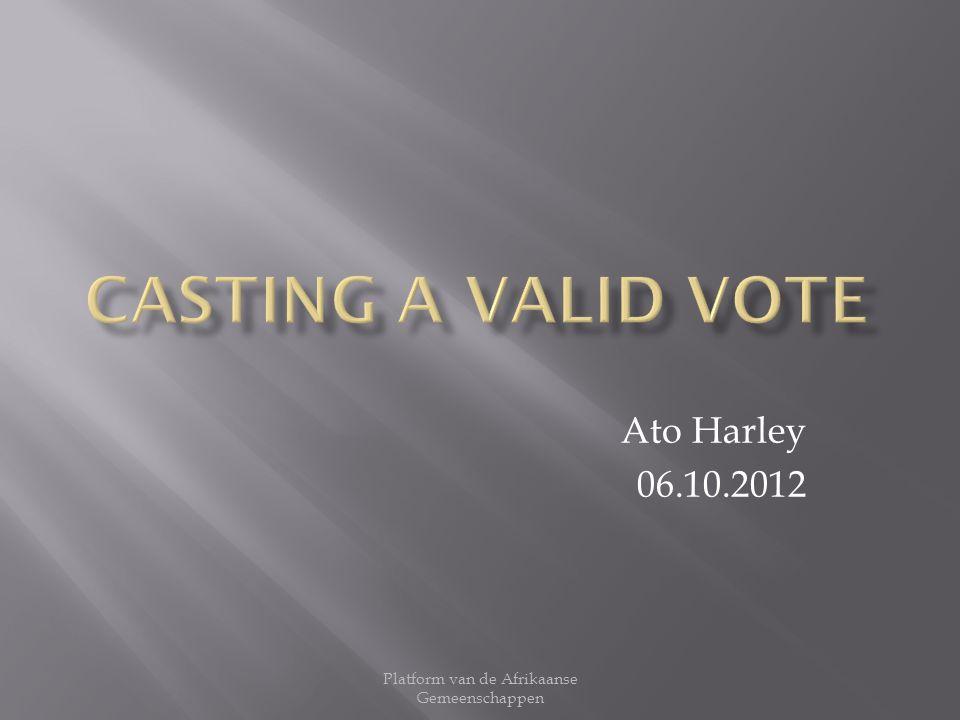Ato Harley 06.10.2012 Platform van de Afrikaanse Gemeenschappen