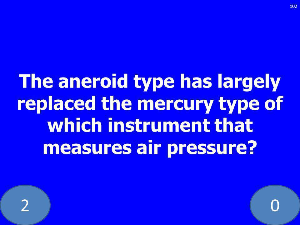 20 The aneroid type has largely replaced the mercury type of which instrument that measures air pressure.