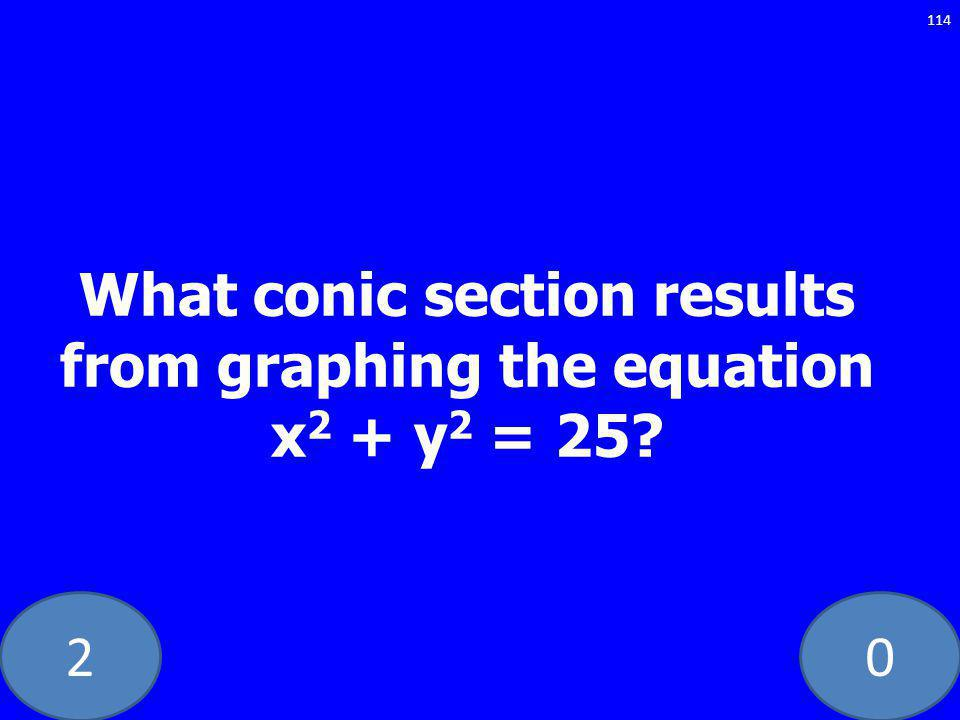 What conic section results from graphing the equation x 2 + y 2 = 25