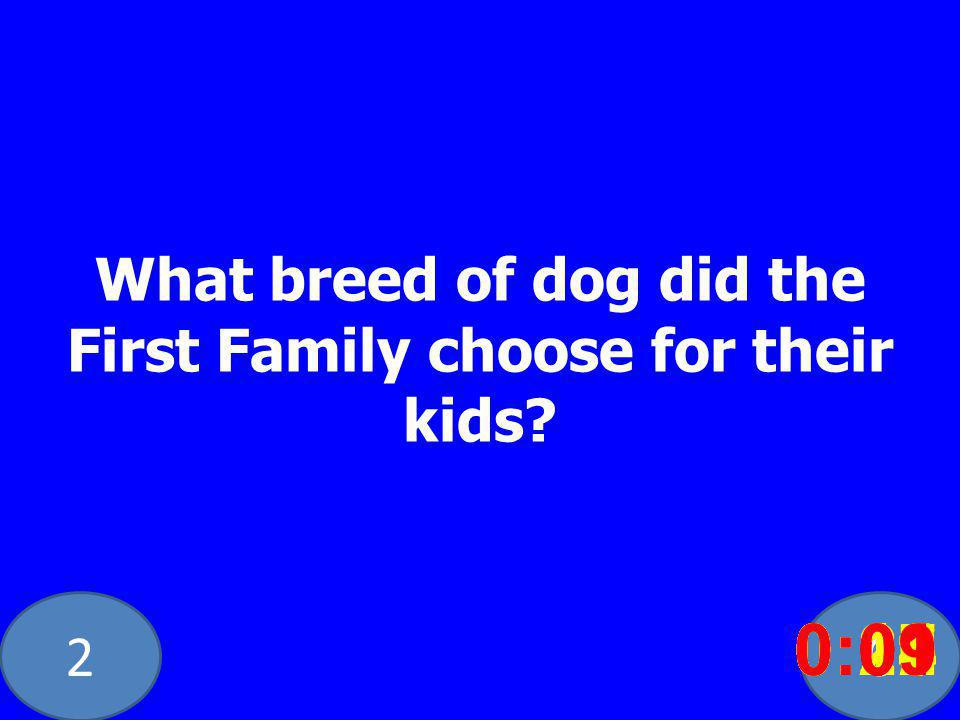 20 What breed of dog did the First Family choose for their kids? 0:020:030:040:050:060:070:080:100:110:180:190:200:160:150:140:130:120:170:090:01