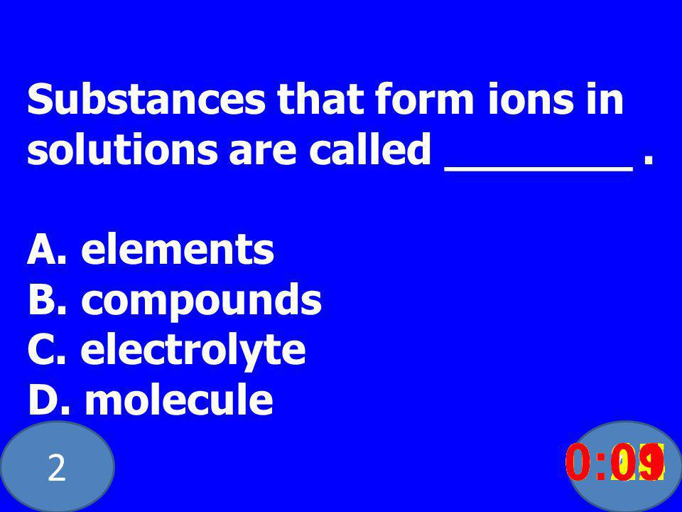 20 Substances that form ions in solutions are called _______.