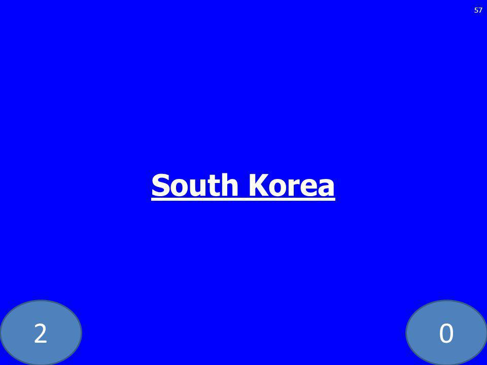 20 South Korea 57