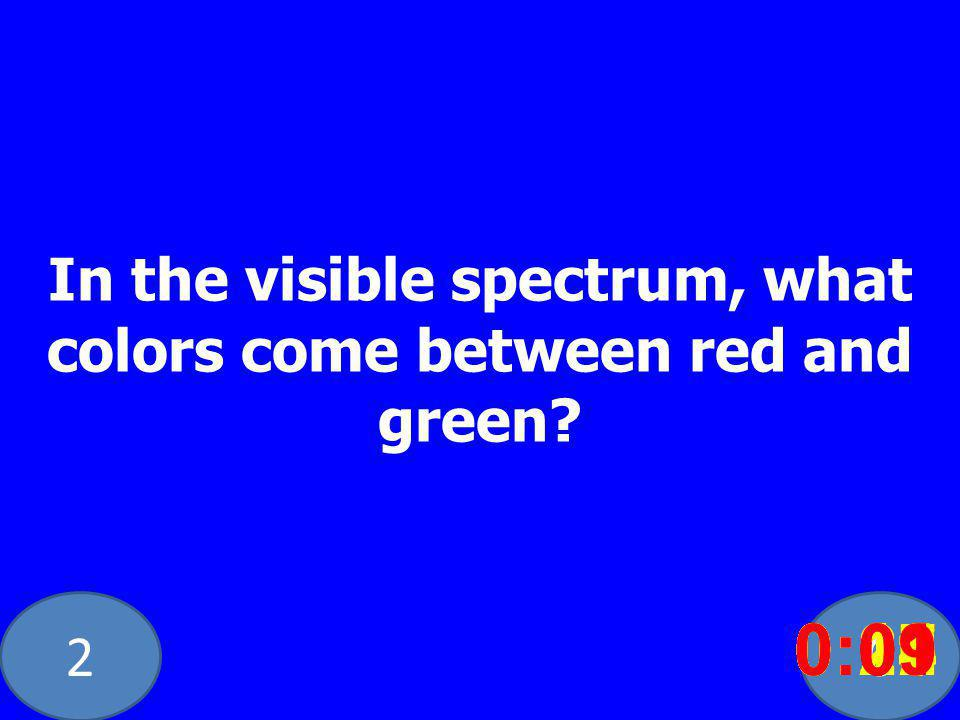 20 In the visible spectrum, what colors come between red and green.