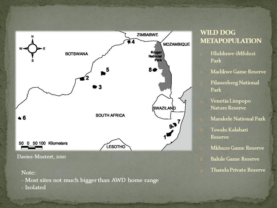 1. Hluhluwe-iMfolozi Park 2. Madikwe Game Reserve 3. Pilanesberg National Park 4. Venetia Limpopo Nature Reserve 5. Marakele National Park 6. Tswalu K