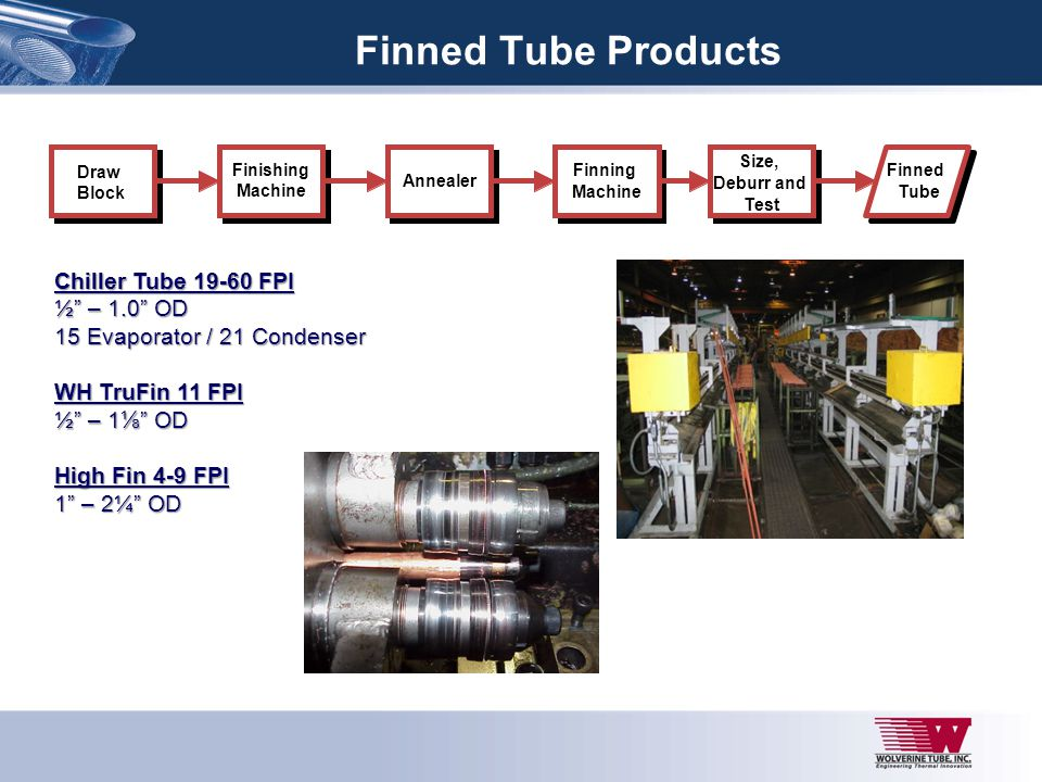 Finned Tube Products Draw Block Finishing Machine Annealer Finned Tube Finning Machine Size, Deburr and Test Chiller Tube 19-60 FPI ½ – 1.0 OD 15 Evap