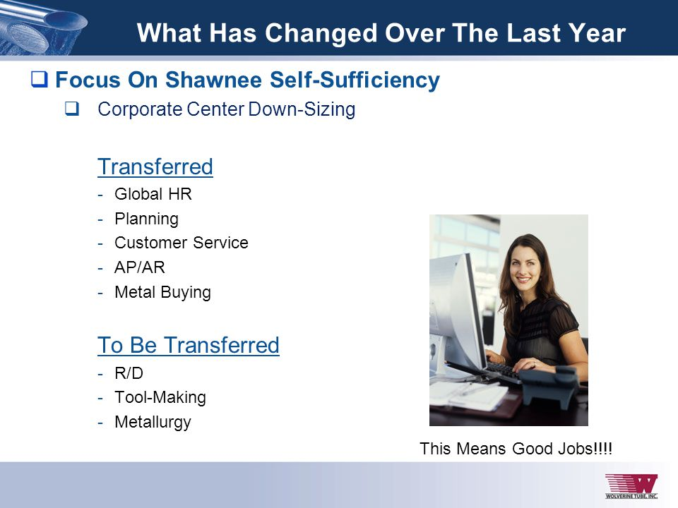 Focus On Shawnee Self-Sufficiency Corporate Center Down-Sizing Transferred -Global HR -Planning -Customer Service -AP/AR -Metal Buying To Be Transferr