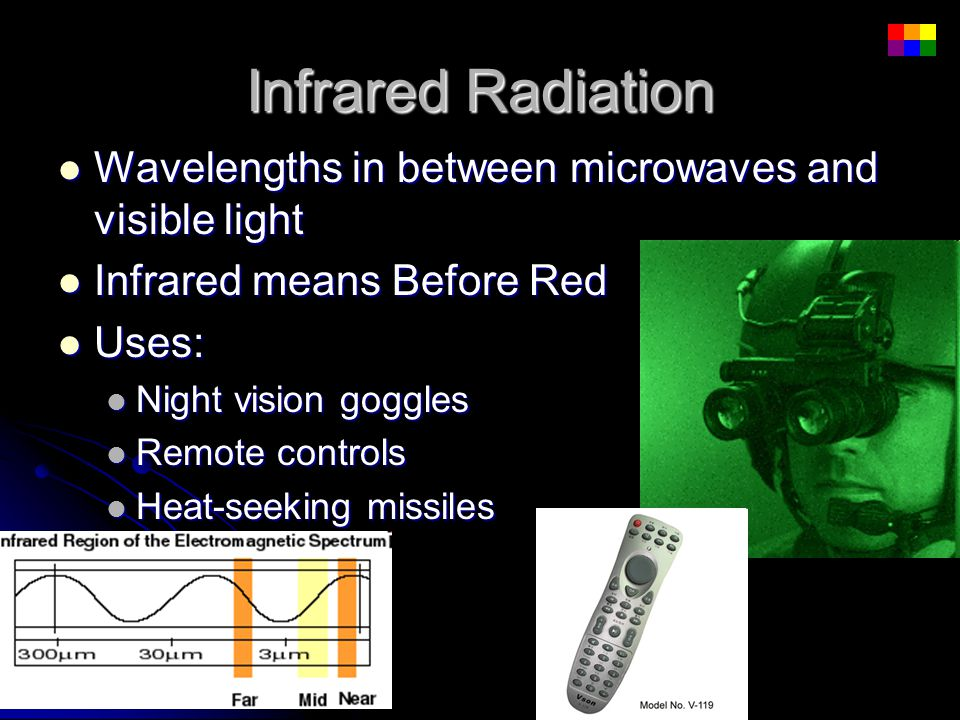 Infrared Radiation Wavelengths in between microwaves and visible light Wavelengths in between microwaves and visible light Infrared means Before Red I